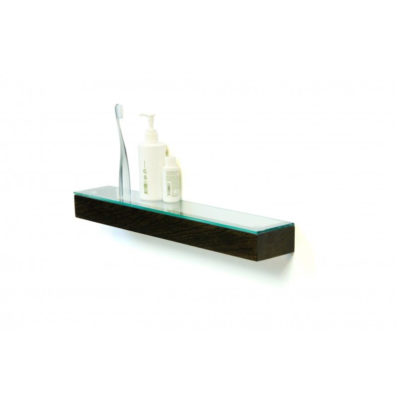 Wireworks Solid Dark Oak Glass Shelf 55cm
