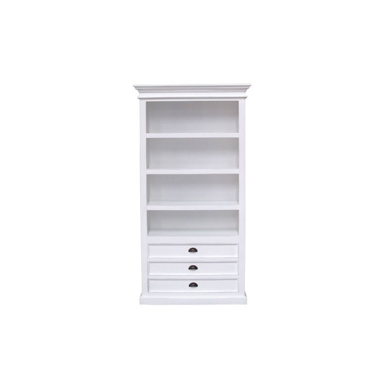 Halifax Painted White Mahogany Bookcase / Cabinet With 3 Drawers