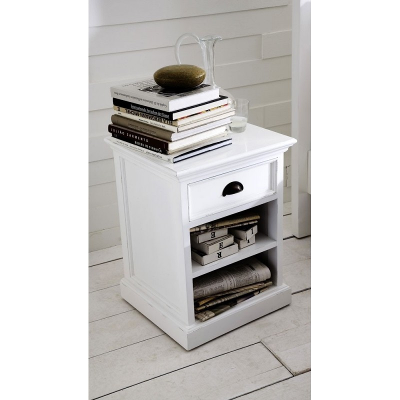 Halifax Painted Mahogany Wood Bedside / Side Table With Shelf