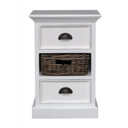 Halifax Painted Mahogany Small Cabinet Bedside / Side Table Rattan Basket