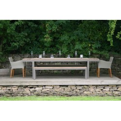 Harlequin Reclaimed Teak Outdoor Dining Table and 2 Benches Set