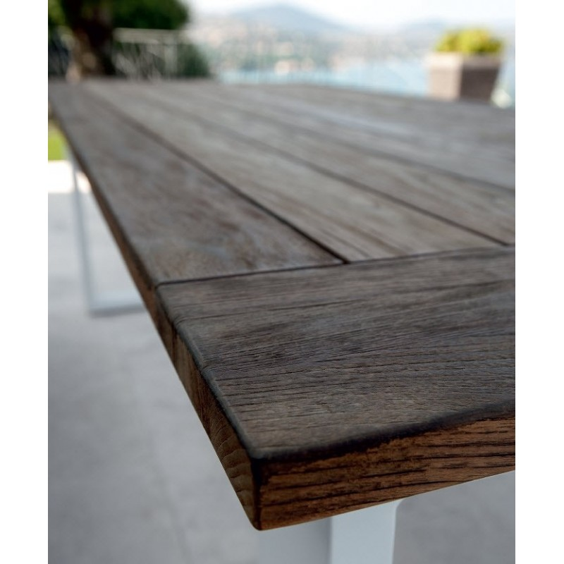 Italian Essence Reclaimed Teak and White Aluminium Outdoor Dining Table test