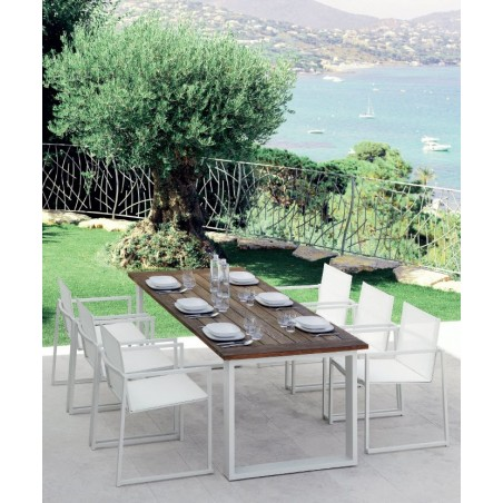 Italian Essence Reclaimed Teak and White Aluminium Outdoor Dining Table