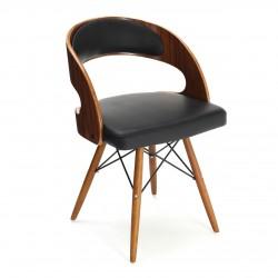 Walnut Veneer Black Faux Leather Mid Century Armchair
