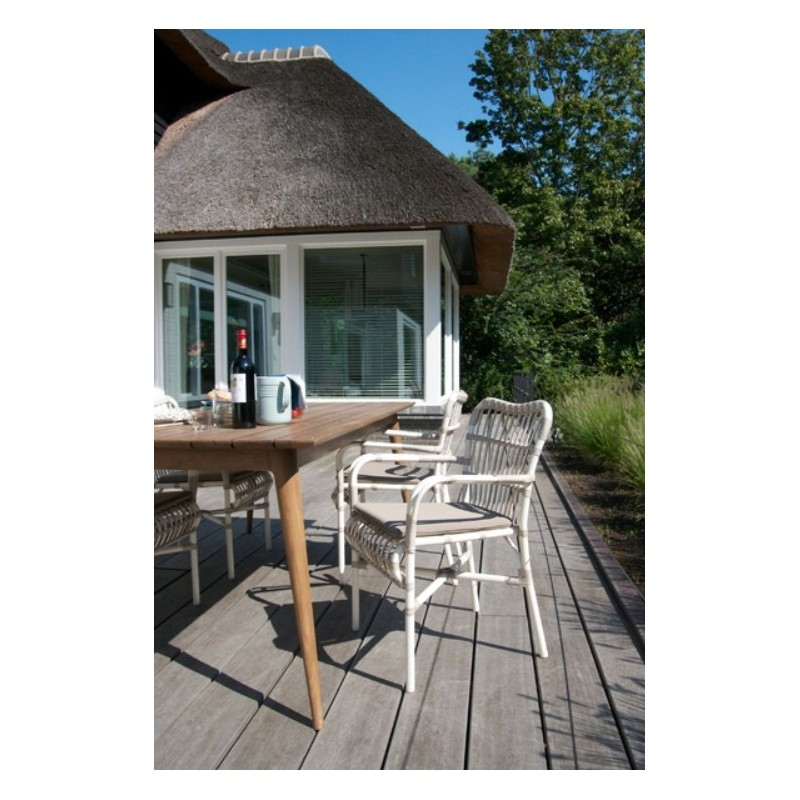 Vincent Sheppard Lucy White Wicker Outdoor Dining Armchair
