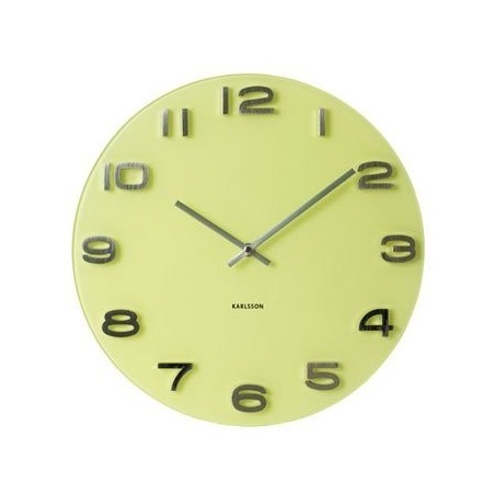 Round Glass Wall Clock - Yellow