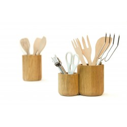 Wireworks Utensil Pot Double - Oiled Oak