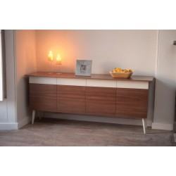 Mid-Century 4 Door Two-Tone Walnut Sideboard