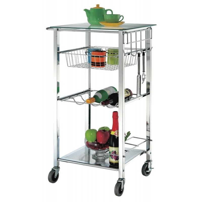 Volpe Chrome and Glass Kitchen Trolley