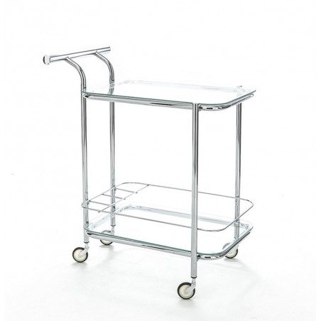 Minimalist Glass and Chrome Serving Trolley