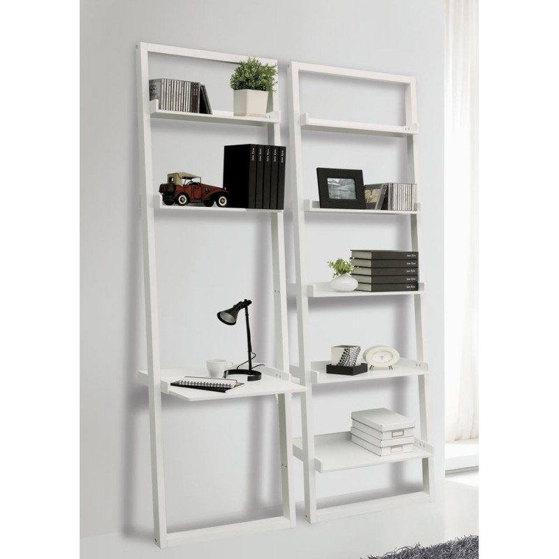 Step-Ladder Style White Lacquered Bookcase