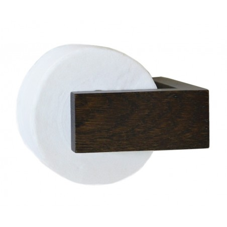 Wireworks Solid Dark Oak Wall Toilet Roll Holder