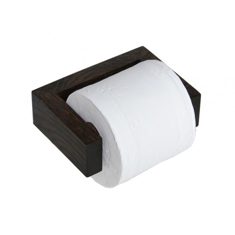 Wireworks Solid Dark Oak Wall Toilet Roll Holder