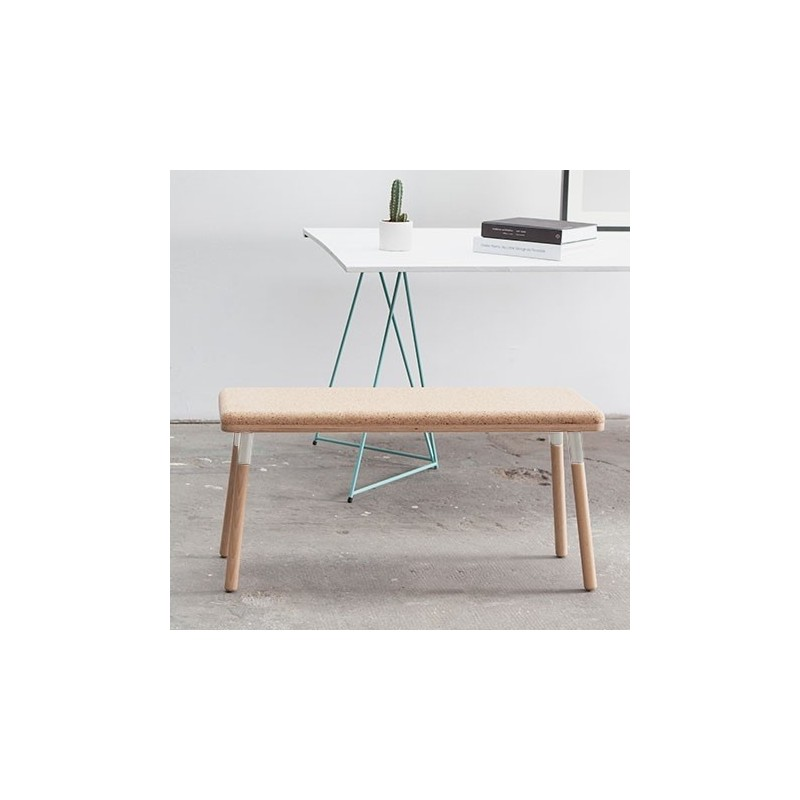 Ubikubi Marco Beech and Metal White Dining Bench