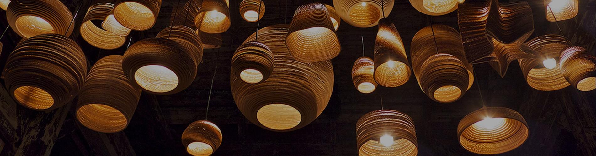 Designers Pendant Lights | Metal | Glass | Cardboard | Wood