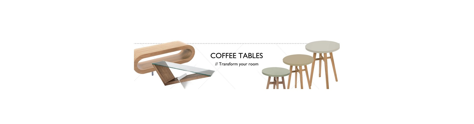 Modern Coffee and Side Tables | Glass Wood Perspex | Black White