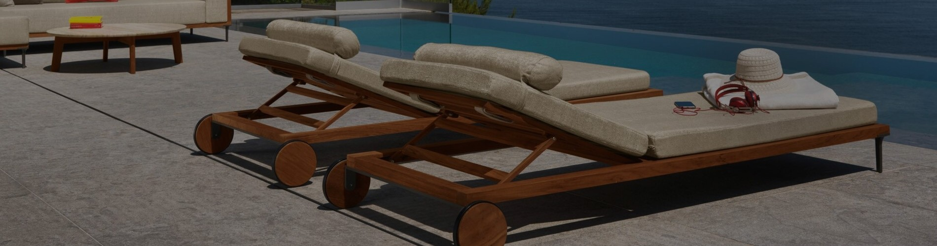 Luxury Sun Loungers | FSC Teak Metal & High Gloss White Aluminium